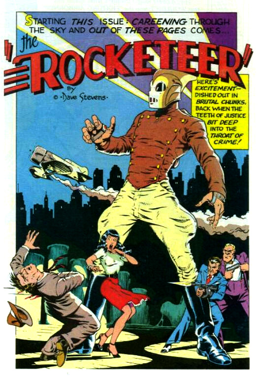 "Dave Stevens' ""Rocketeer"" comics were some of the early examples of the pulp fiction revival. A tribute to movie serials of the past, ""The Rocketeer"" also included a mixture of ideas from adventure pulps."